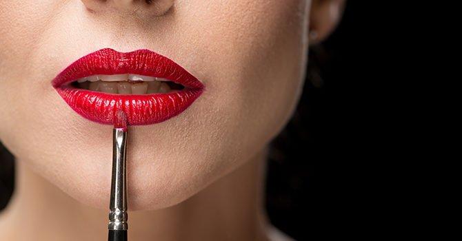Mooie Rode Lippen Met Penseel