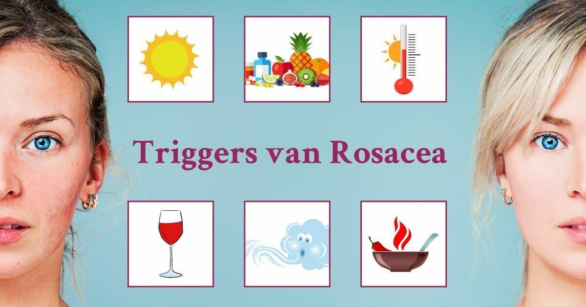 Blonde vrouw Rosacea triggers wijn kou hitte voedsel zon