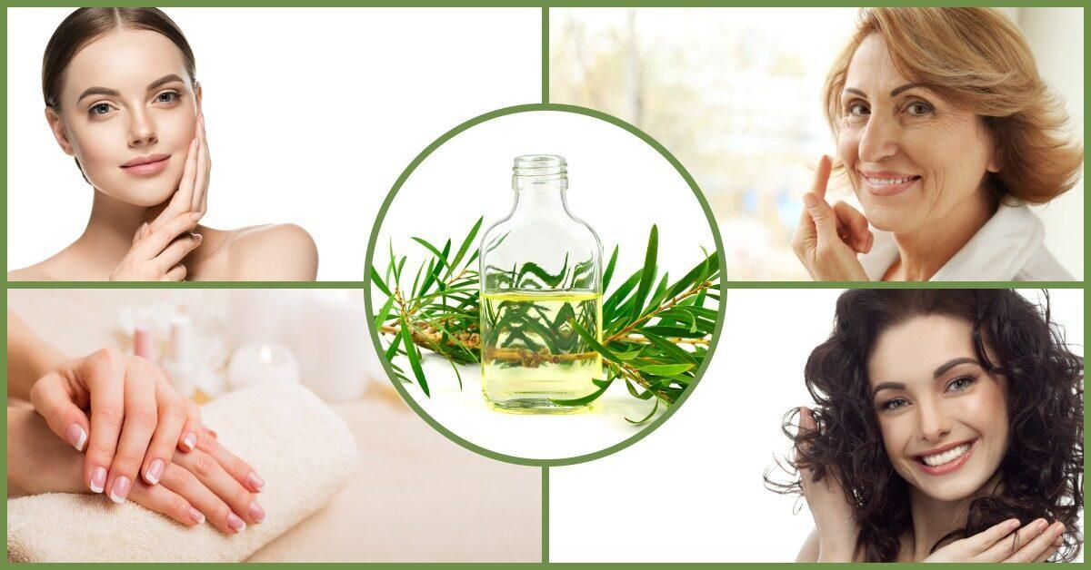 Flesje tea tree olie vrouw huid haar nagel gezicht verzorging