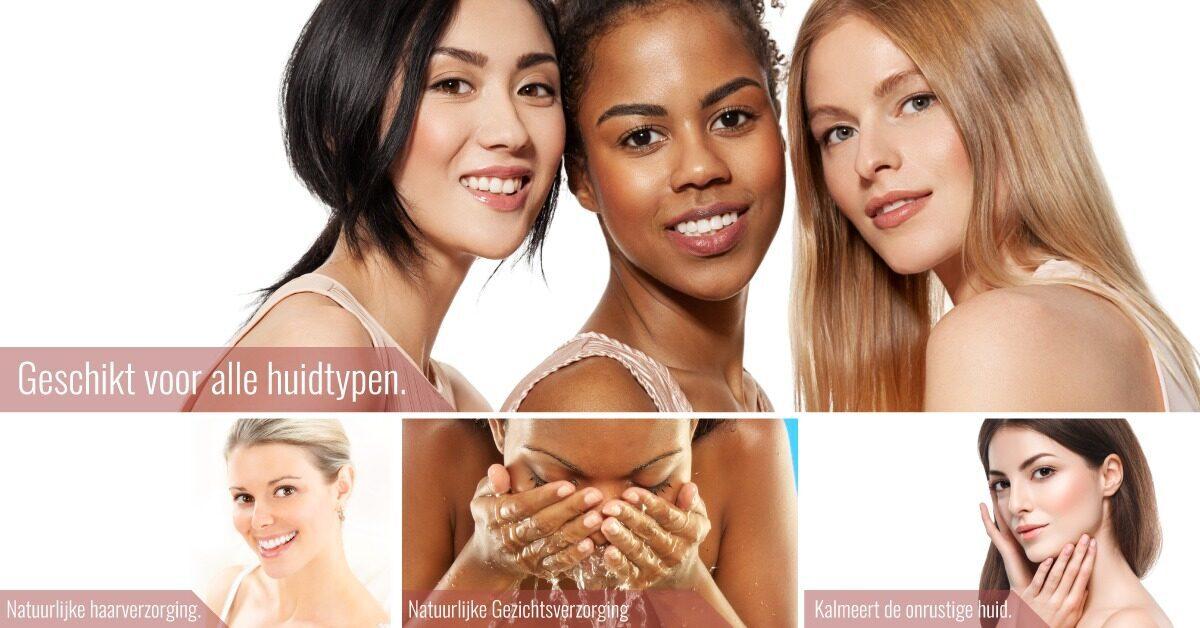 Huidtypes vrouwen lachen wassen gezicht huidverzorging
