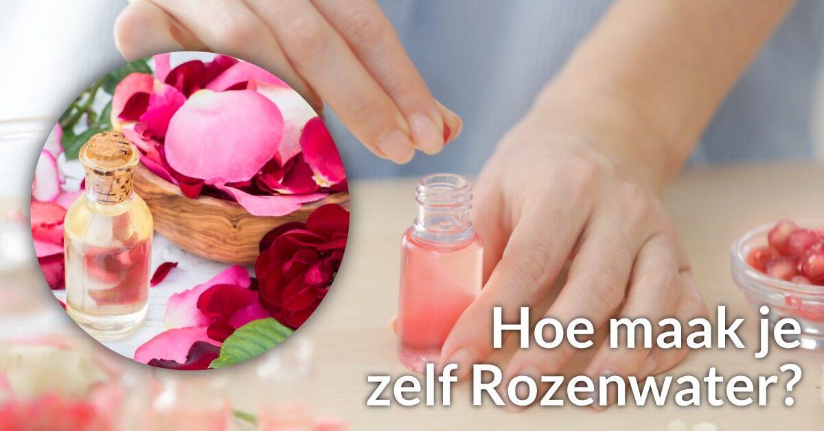 Rozenblaadjes rozenwater flesjes handen vrouw