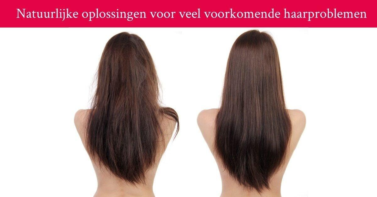 Vrouw lang haar haarproblemen pluizend glad