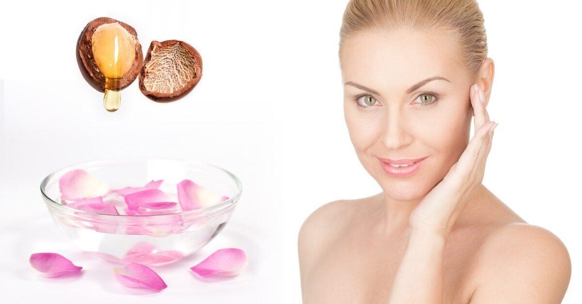argannoot arganolie rozenwater blonde vrouw huidverzorging