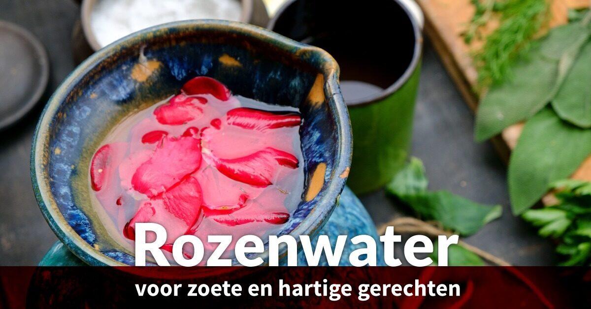 culinaire rozenwater schaal bladeren
