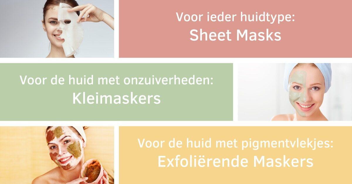 maskers verschillende huidtype