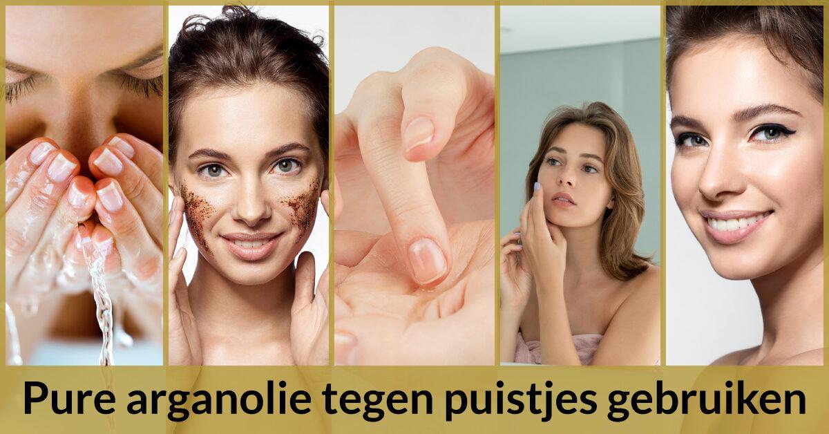 stappen hoe gebruik je arganolie tegen puistjes vrouwen