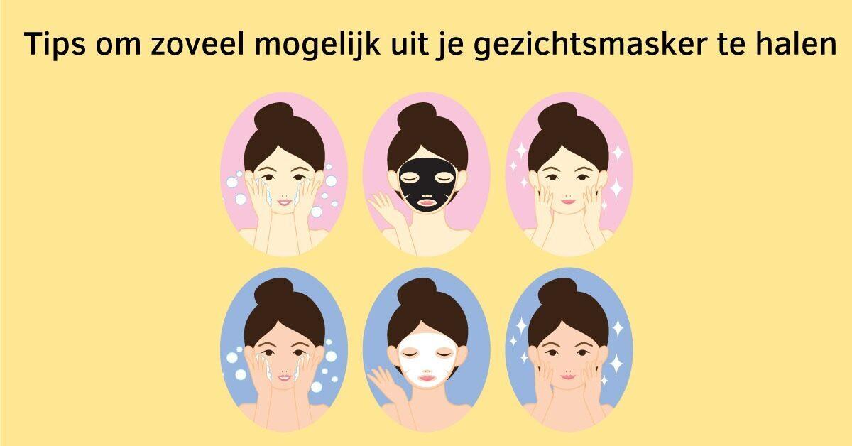 vrouw gezichtsmasker reinigen gezichtsmasker