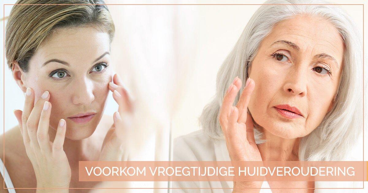 vrouw smeert creme huidveroudering